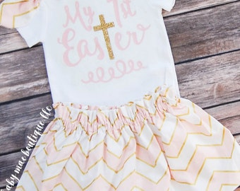 My 1st Easter Outfit, Baby Girl Biblical Easter Onesie; Baby Girl Easter Dress; My First Easter Onesie with Skirt: Easter Onesie with cross
