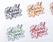 Hand lettered THANK YOU stickers with fall leaves - 4 color choices