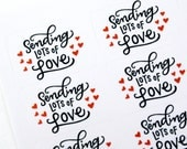 Shop Exclusive - Sending lots of love Valentine's stickers with hearts - modern calligraphy hand lettered stickers