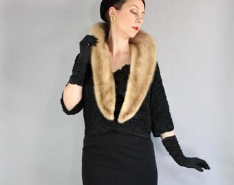 50s Mink Collar Black Jacket, Vintage 1950s Fur, vlv, Viva Las Vegas, Wedding Guest, Wedding Fur, Bombshell, Pinup, Medium, FREE SHIPPING