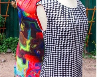 Vintage 70s - Reversible Sleeveless Dress - Psychedelic & Black and White Checkers