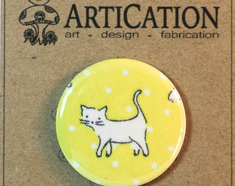 "Perrrrfectly Sweet Kitty Cat Decor,  sealed upcycled fabric button magnet - 1.5"" (1 1/2 inch, 38mm)"