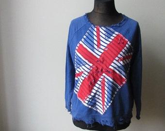 Shredded Union Jack Sweatshirt, British Flag Shirt, Upcycled Recycled Repurposed Clothing, British Flag Jumper, Union Jack Shirt, Punk Rock