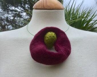 felted wool statement felted wool necklace lagenlook choker  ..wearable art .. burgundy red green.....OOAK Art to Wear