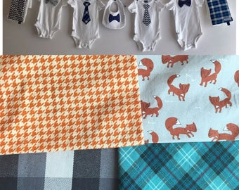 Baby Shower Decoration, Boy, Fox clothesline with Tie and Bow Tie Onesies, baby leggings, Burp Cloths, Bib, ribbon and clothespins included