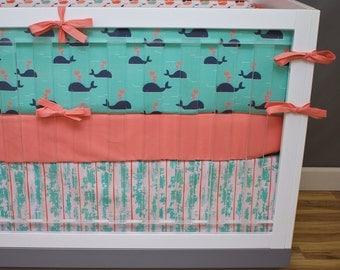 Nautical Crib Bedding Baby Girl Nursery, Coral, Navy, Mint Green, Pink Baby Bedding, Anchors, Whales, Chevron Neutral Nursery Bedding