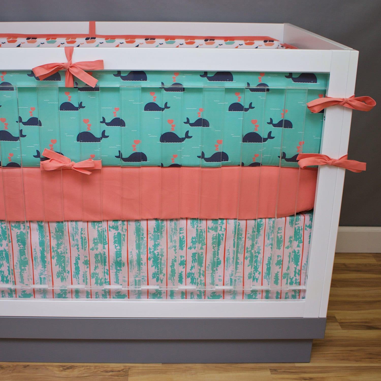 Baby Nash S Vintage Nautical Nursery: Nautical Crib Bedding Baby Girl Nursery Coral Navy Mint