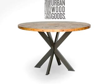 Round dining/kitchen table, loft table in reclaimed wood and steel legs in your choice of color, size and finish