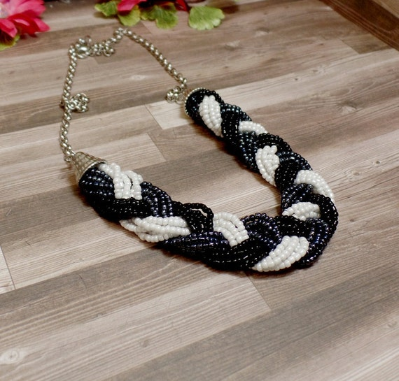 Black & White Braided Bead Necklace - Statement Necklace