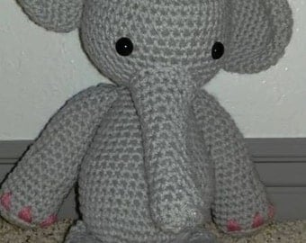 Elephant Stuffie Crochet Elephant Stuffed Animal Elephant Themed Baby Toy