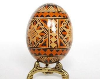 Brown Pysanka batik egg on chicken egg shell Ukrainian Easter egg hand painted egg