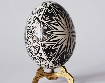 Black egg ornament gift for Christmas for mom aunt family gathering for Easter dinner centerpiece Black and White Pysanka egg decoration