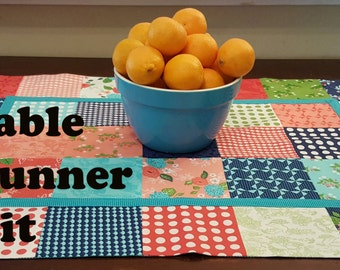 Easy to Sew Kit for Table Runner in Vintage Prints in Reds, Greens and Blues with Turquoise Dot Trim and Back