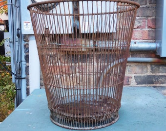 Antique Industrial Trash Can Wire basket  waste Bin Massillon Ohio Garbage basket office home