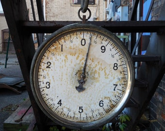 Antique John Chatillon & Sons Scale Double face Big round brass ring 1906 hanging scale farmhouse Industrial steampunk