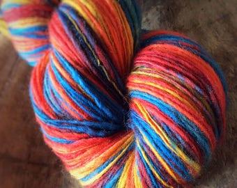 Crayon Box - Merino wool  - single thread handspun shawl yarn 106gr 456m