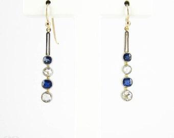 Sapphire & Rose Cut Diamond Drop Earrings, Bezel Set Graduated Dangle Earirngs. 15ct and Platinum, Victorian Conversion.