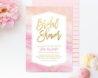 Bridal Shower Invitations Watercolor Marble