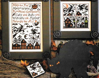 Counted Cross Stitch, Cross Stitch Patterns, Cats, Bats and Witches, Halloween, Halloween Decor, The Prairie Schooler,  PATTERN ONLY