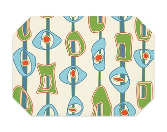 Mid century modern placemat, printed cloth placemat, lime green, blue, fabric placemat, table linens, table setting, mcm