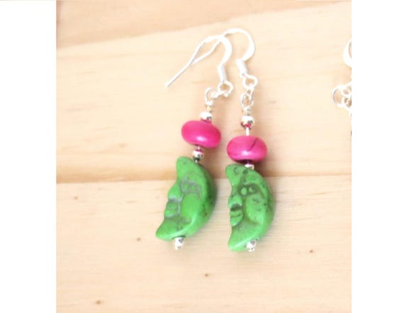 Half-Moon Earrings, Deep Pink and Green Stone Beads, Funky Boho Fun Jewelry!