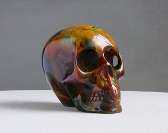 Vintage Resin Skull - End of Day Plastic Acrylic Paperweight Desk Ornament - Weird Unusual Momento Mori 1970s
