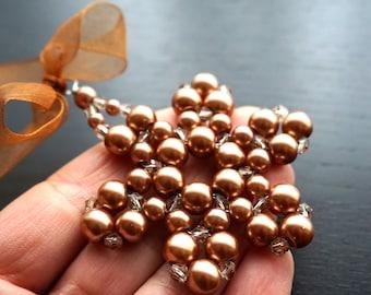 Honey Copper Pearl Beaded Snowflake Ornaments Crystal Star for Mom Stocking Stuffer Men Christmas Tree Ornament Decoration Christmas Gift
