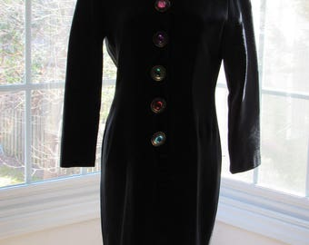 MILESTONE SALE 40% OFF with Coupon, Vintage Black Dress with Large Jeweled Buttons