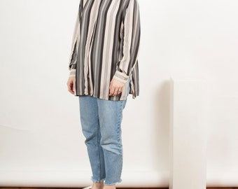 Long Sleeve Silky Blouse / Vintage Stripped Shirt / Beige and Grey Shirt