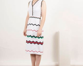 Basic Chevron Sleeveless Dress / Fitted Summer Dress / Cream White Dress