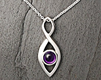 Sterling Silver Amethyst Cabochon Necklace ~ Modern Necklace ~ Amethyst Pendant ~ February Birthstone ~ Gift for Her ~ Mothers Day Gift