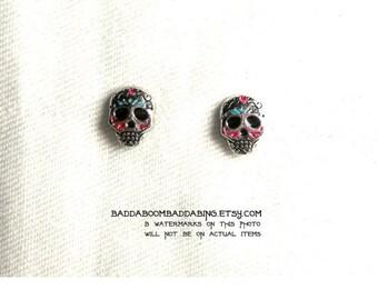 8mm Sugar Skull Earrings