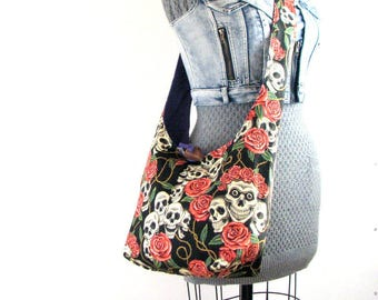 Skull Bag - Vegan Bag - Hobo Handbag for Women - Skull Purse for Women - Skull Tote Bag - Hippie Bag - Boho Bag for Women - Crossbody Bag
