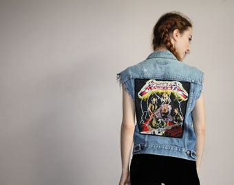 Vintage 80s Rare Metallica Levi's Heavy Metal Patch Distressed Denim Jean Band Vest - 1980s Levi Strauss - 80s Clothing - WV0331