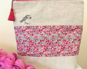 Liberty of London 'Love Bird' project bag with silk tassel ..... Poppy & Daisy Pink