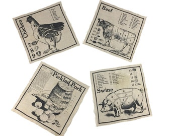 Vintage Linen Napkins / Meat Cuts Napkins / Butcher Cut Napkins /  Linen Placemats / Linen Napkins / Set of 4