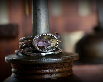 Moss Amethyst Igneous Stacking Ring Set - Modern, Industrial, Distressed Metal, Destroyed, Oxidized Silver, Textured, Urban, Contemporary