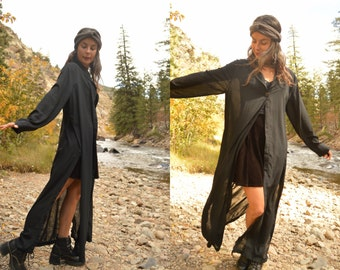 Vintage 80s Sheer Long Black Duster Jacket with Side Slits