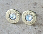 Stud Earring, Winchester 270 Win Brass Bullet Earring, Lightweight Thin Cut, Clear Swarovski Crystal, Surgical Steel Post - 240