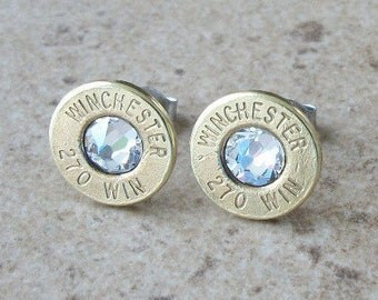 Stud Earring, Winchester 270 Win Brass Bullet Earring, Lightweight Thin Cut, Clear Swarovski Crystal, Surgical Steel Post - 240