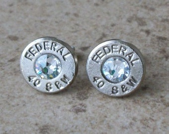 Federal 40 S&W Nickel Bullet Stud Earring, Clear/Diamond Swarovski Crystal, Surgical Steel Post - 342