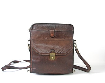 Vintage 70's French Shriner brown leather purse, brown crossbody, leather cross body bag