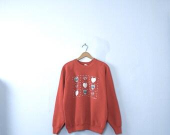 Vintage 80's red sweatshirt, hearts sweatshirt, jumper / pullover, size XL / large
