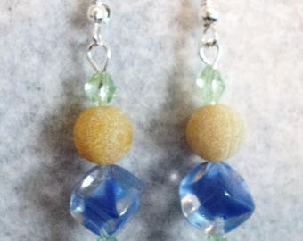 Summer Earrings, Dangle Earrings, Traditional Earrings, Blue and Yellow, Summer Jewelry, Prom Earrings, Wedding Earrings - SUMMER DAZE