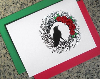 raven in black wreath christmas holiday cards / notecards / thank you notes (blank or custom text inside) with envelopes - set of 10