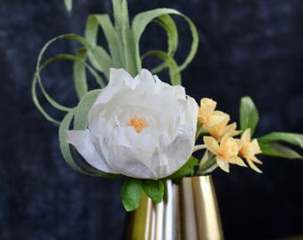 Paper Floral Arrangement - Mother's Day Flowers with Daffodils and Peony in Brushed Gold Vase