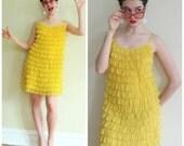 Vintage 1960s Yellow Ruffled Nightie Turned Party Dress / 60s Babydoll Saramae Lingerie / Large