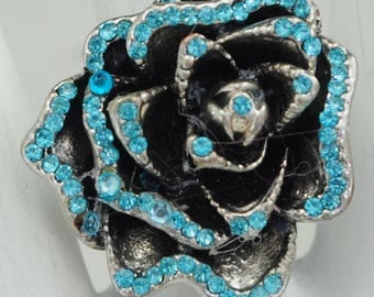 Rhinestone Rose Statement Ring/Blue/Silver/Spring/Summer Jewelry/Gift For Her/Adjustable/Under 12 USD