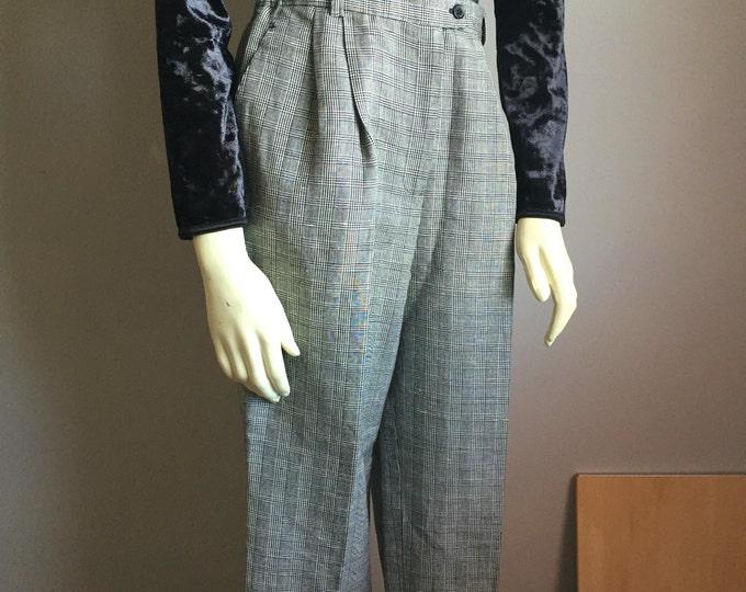 90s plaid black and white ultra high waist chic minimalist jazzy style womens professional work slacks pants trousers straight leg M L 10 9