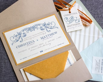 """Blue and Gold Wedding Invitations, Vintage Invitation Suite, Beach Wedding Invites, Luxury Invitation Set - """"Romantic French Country"""" PF-1L"""